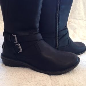 UGG Black Leather Winter Boots. NWOT